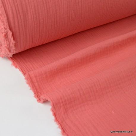 tissu double gaze de coton pas cher coloris corail pour creation habillement