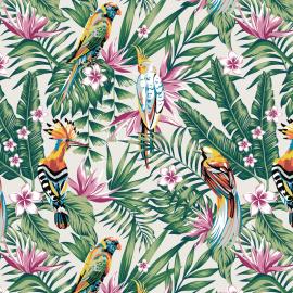 tissu bachette grande largeur exotique imprime toucans et perroquets fond ecru tissu bachette grande largeur exotique imprime toucans et perroquets