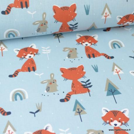 tissu coton imprime renards lapins et sapins fond glacier oeko tex