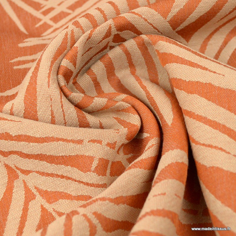 tissu ameublement jacquard terracotta