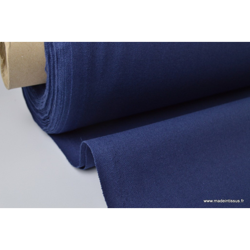 tissu coton demi natte bleu marine indigo diabolo en grande largeur