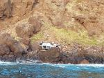 Details of the fall of a car on a cliff of Ponta das Gaivotas and rescue of the driver