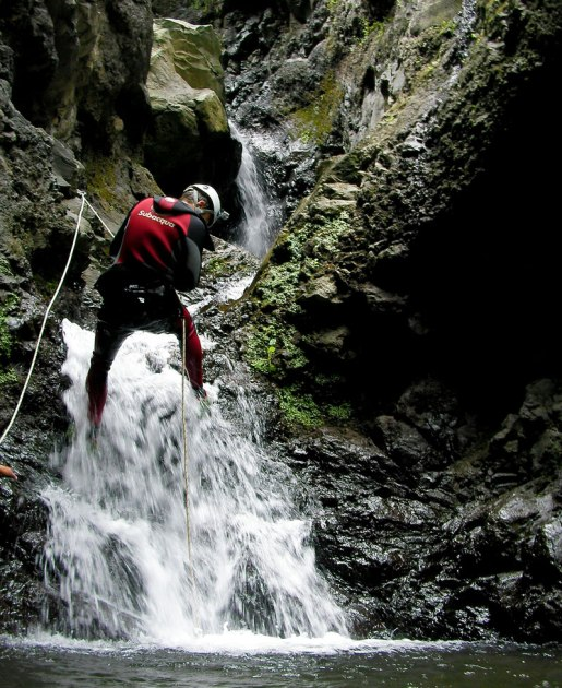 Canyoning Madeira abseiling down waterfall