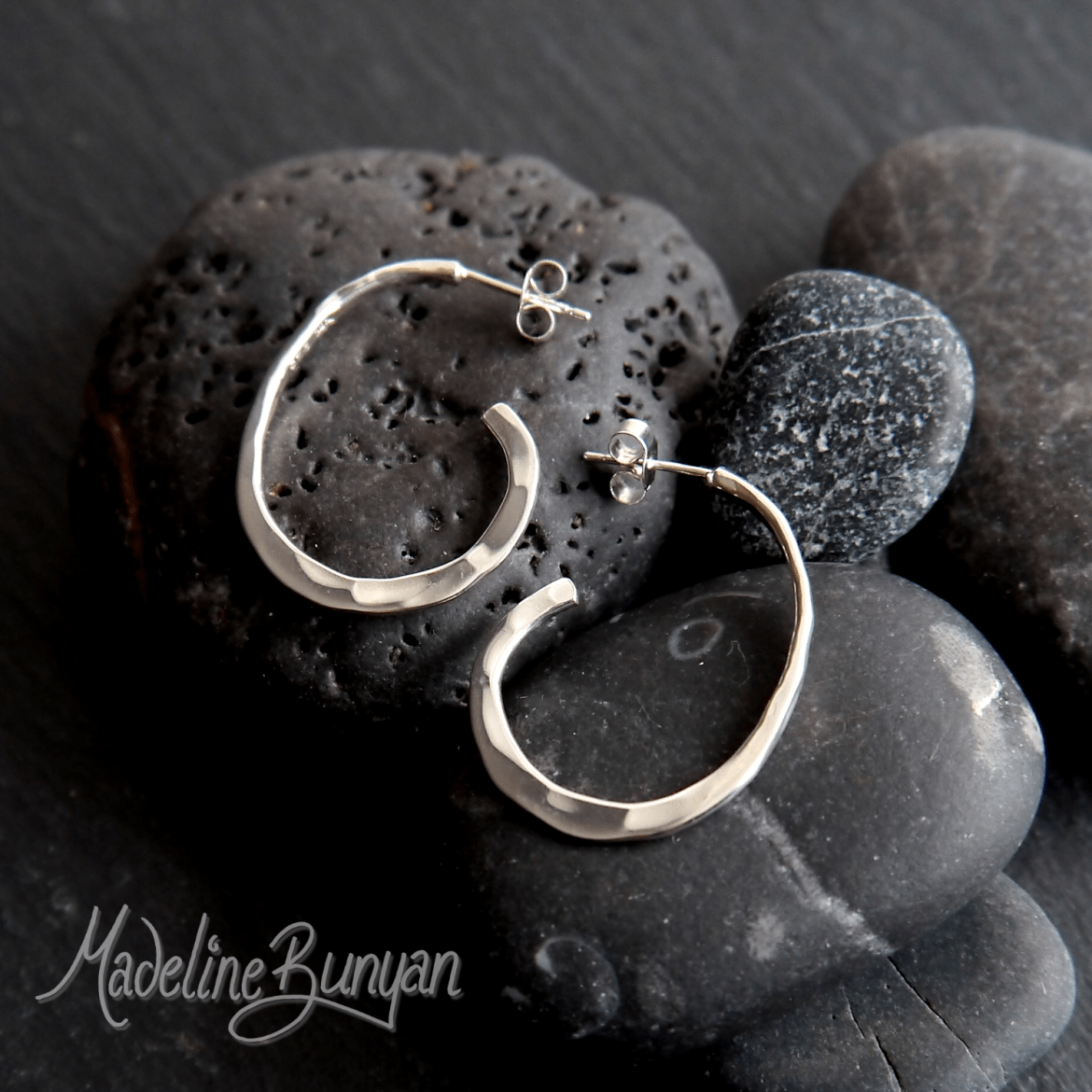 Simple Pebble Hoop stud Earrings, Handmade Sterling Silver