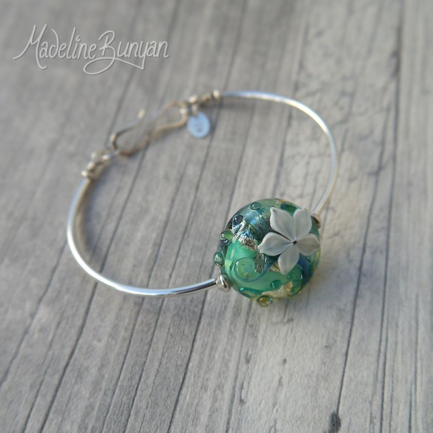 Water Garden, Lampwork bead, simple bangle bracelet, lampwork bead, sterling silver