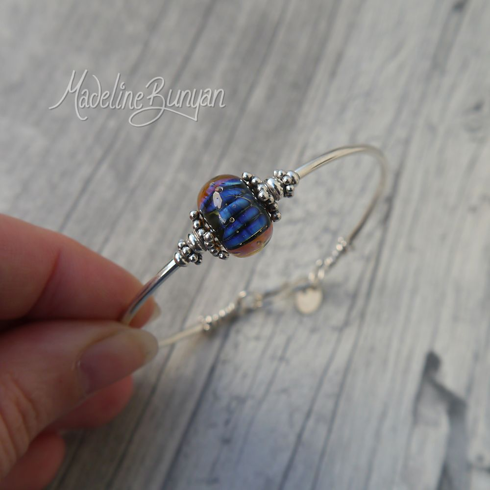 Blue Shimmer, simple bangle bracelet, Ornate Silver Beads Lampwork bead, sterling silver