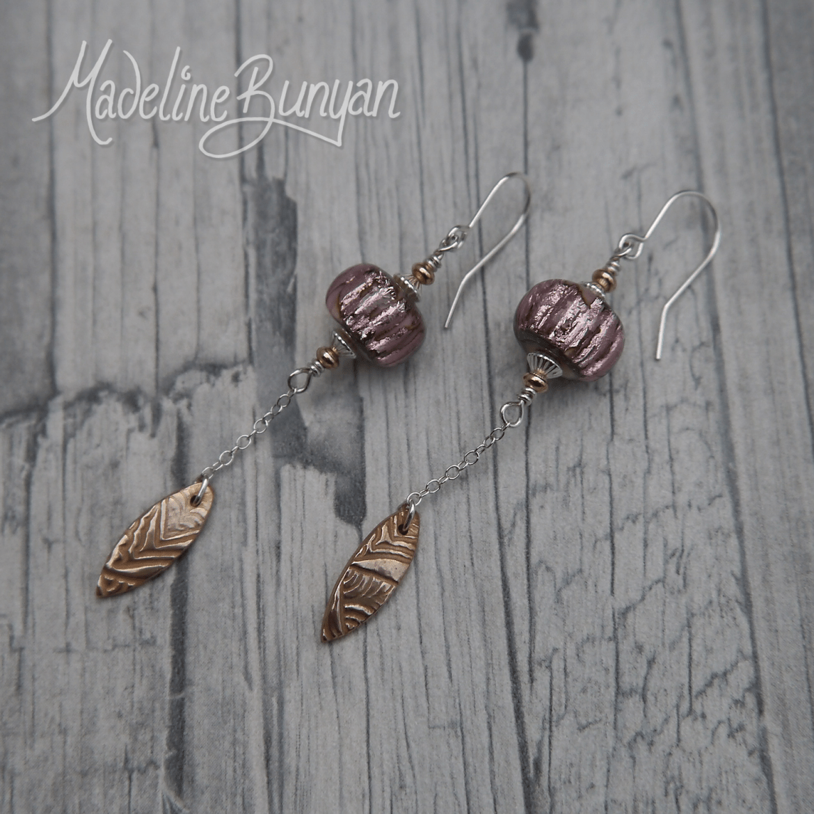 Bronze drops and lampwork glass drop earrings Sterling Silver, Purple Foil