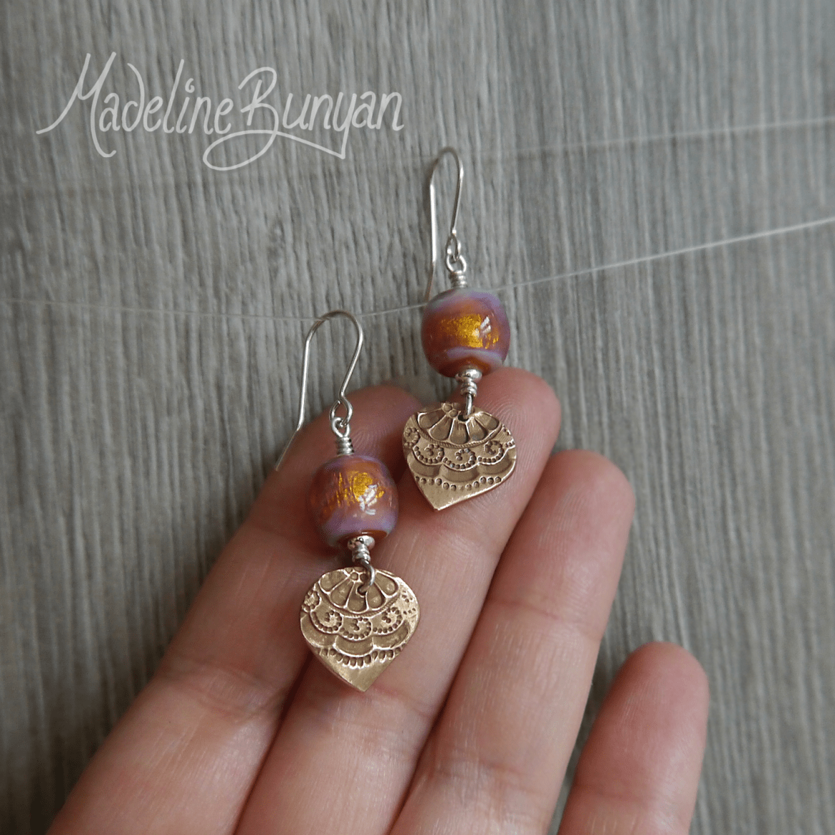 Pink and Gold Shimmer lampwork glass and Bronze drop earrings Sterling Silver