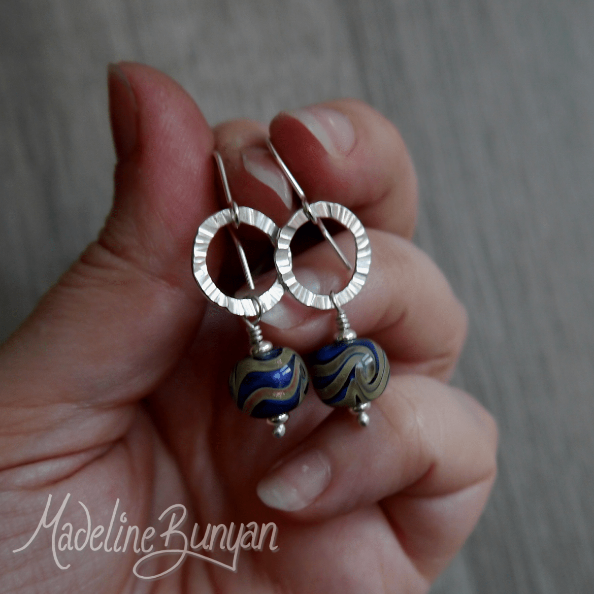 Blue and Gold Lampwork and circle drop earrings with Sterling Silver