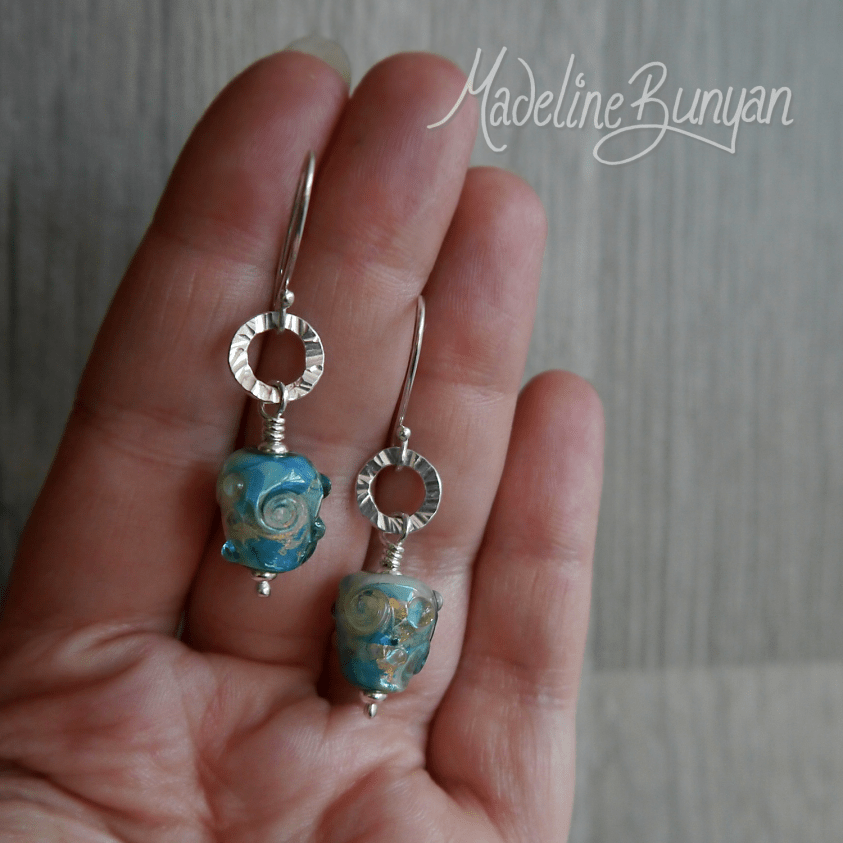 Aqua and Gold Lampwork Teardrop and circle drop earrings with Sterling Silver