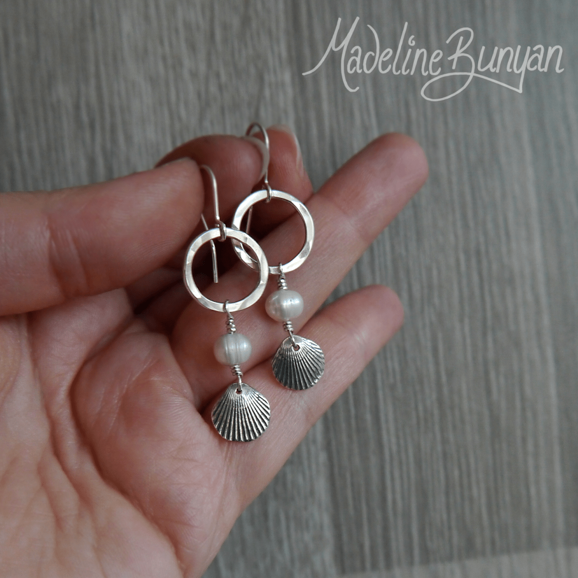 Silver Seashell and freshwater pearl drop earrings Sterling Silver