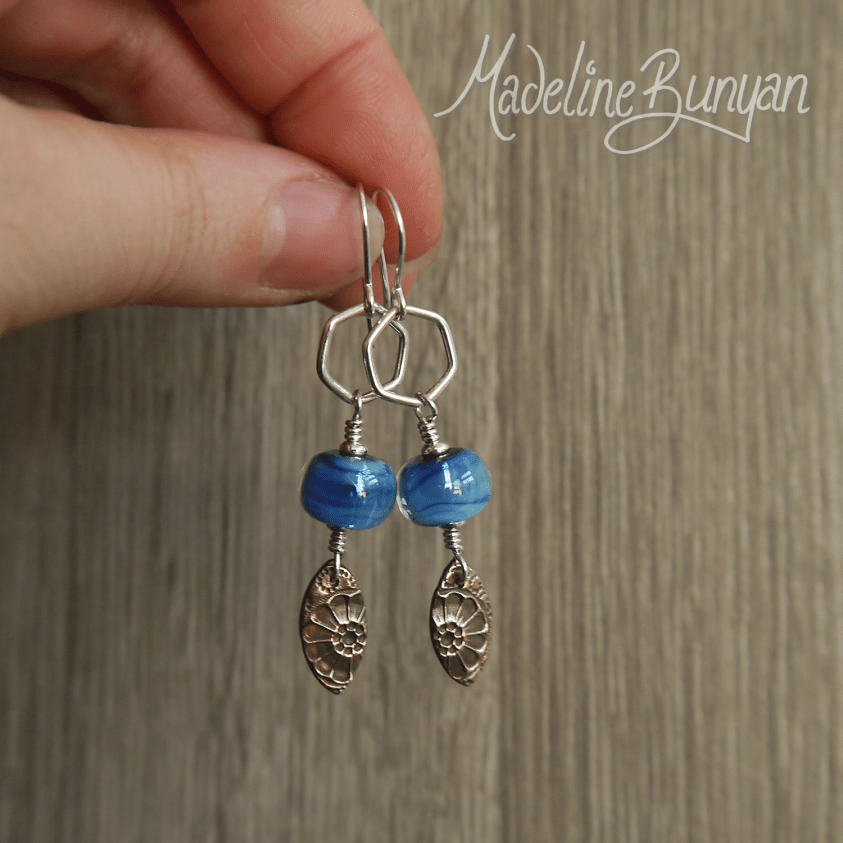 Bronze drops and shimmering Blue lampwork glass earrings Sterling Silver Hexagons