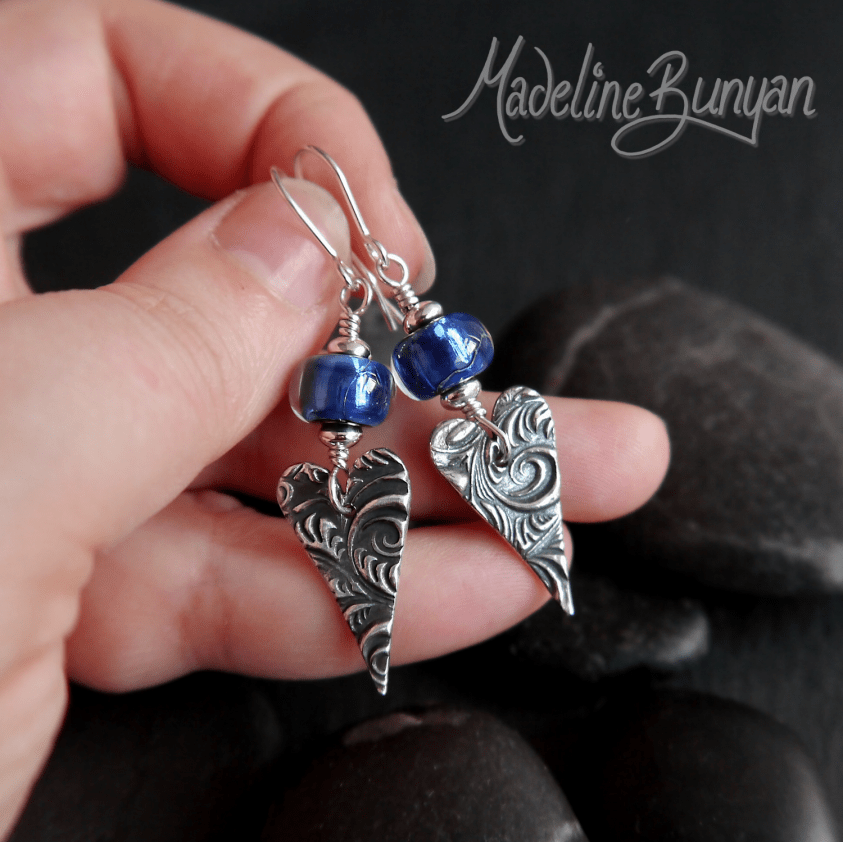 Blue Shimmer lampwork glass and Heart Drop earrings Sterling Silver