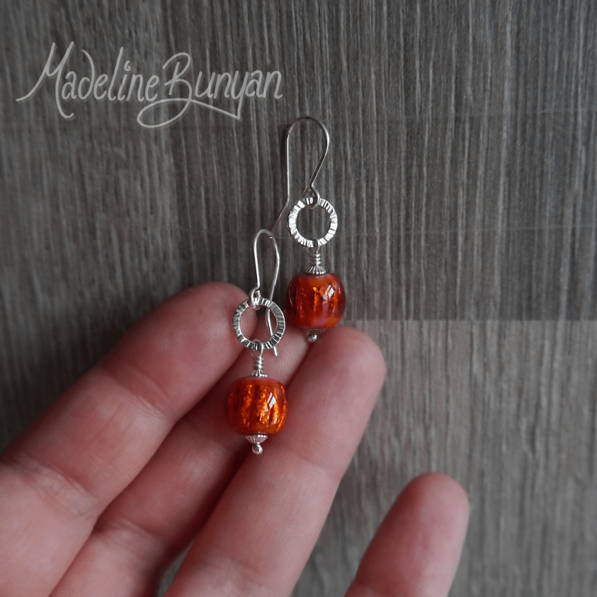 Lampwork glass drop earrings Sterling Silver hoops, Vibrant Orange Foil