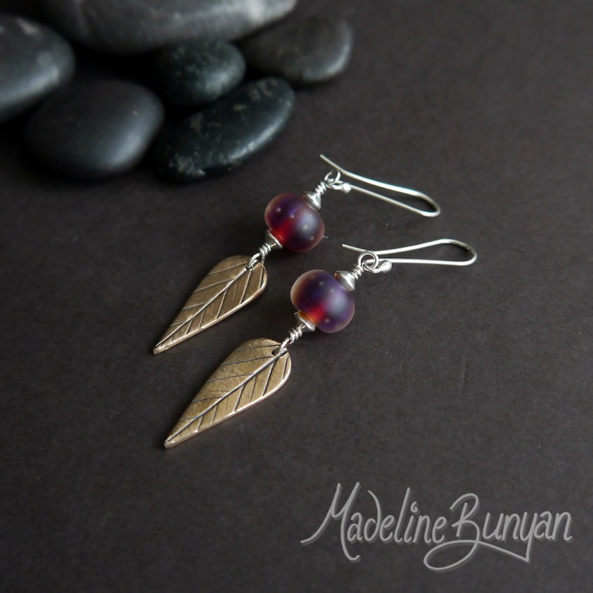 Bronze Leaves and lampwork glass drop earrings Sterling Silver, Matte Purple and Burgundy