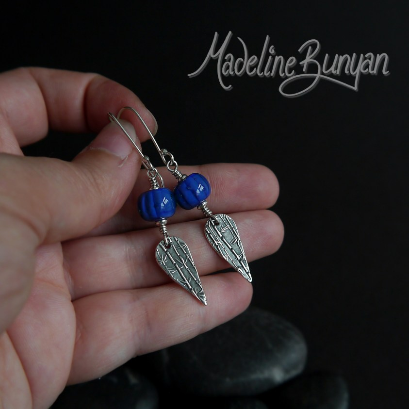 Blue lampwork glass & Bamboo drop earrings, Sterling Silver, Oxidised