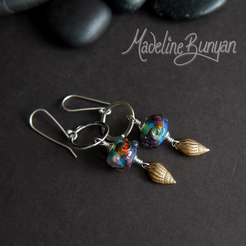 Bronze Seashell and Green Gold Purple lampwork glass drop earrings Sterling Silver, Beach, Sea, Ocean