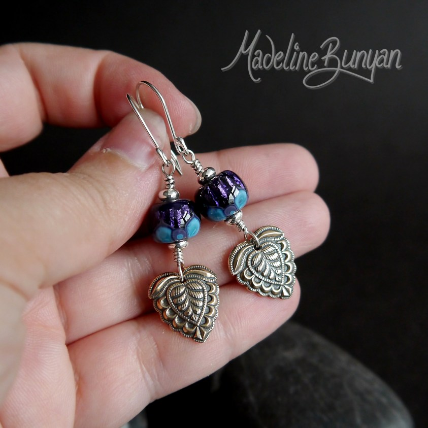 Purple Lotus Lampwork glass earrings with Indian style bronze drop Sterling Silver