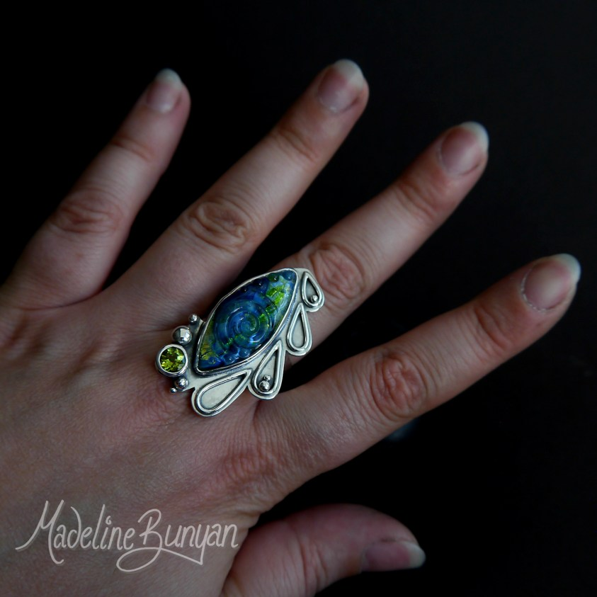 RESERVED Blue and Green Glass Gem Set Ring, Sterling Silver, peridot, Hallmarked, size U