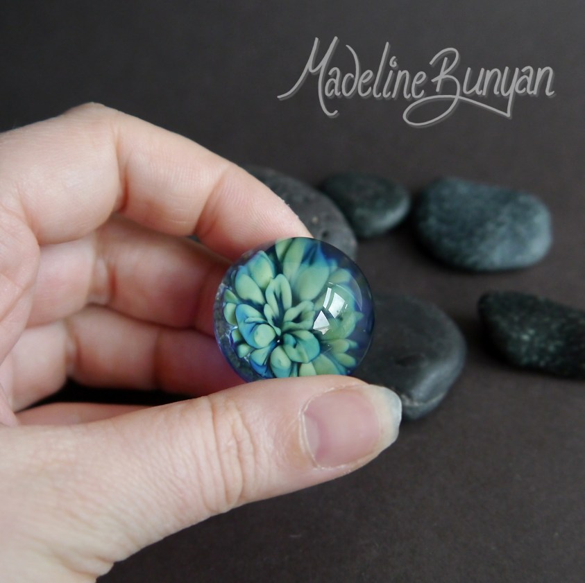 Everlasting Succulent Plant Marble, Large Sage Green & Blue art glass, collectible