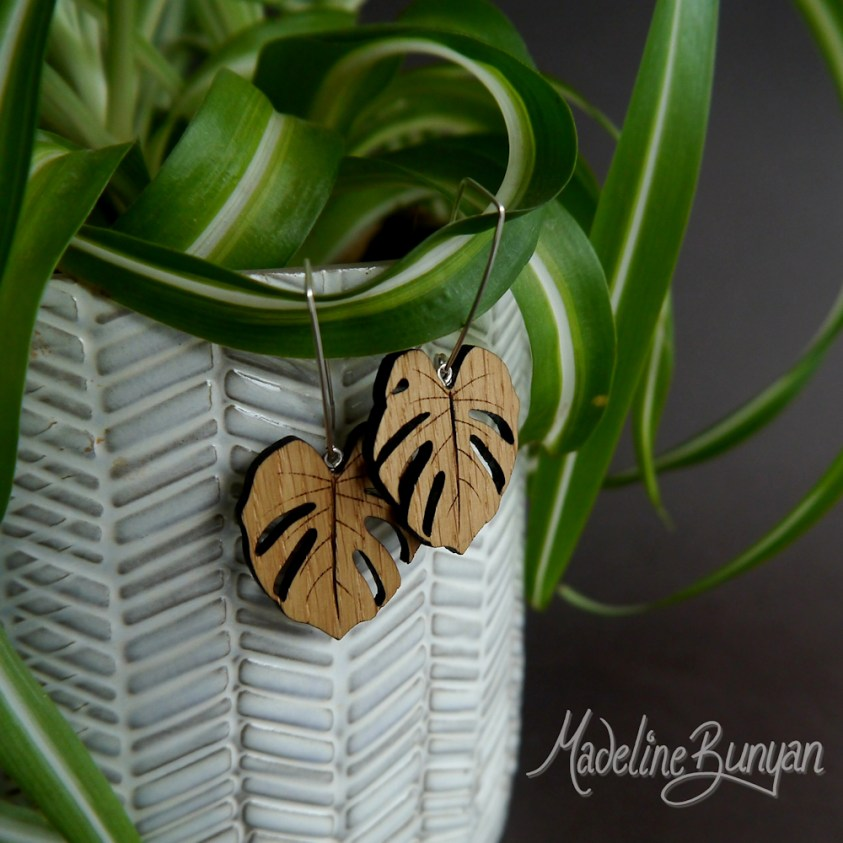 Monstera Leaf Earrings - Large, Sterling Silver and Oak Wooden Jewellery, Cheeseplant Earrings