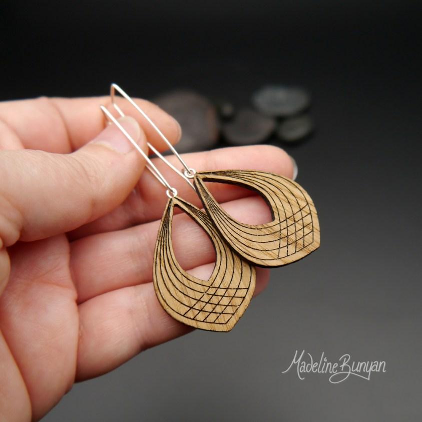 Wooden Linear Teardrop Earrings, Sterling Silver and Oak Wood Jewellery