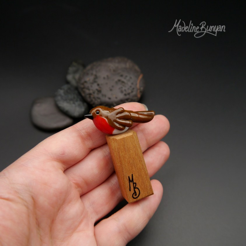 RESERVED Robin on wooden stand, Lampwork Glass Bead Mini Sculpture