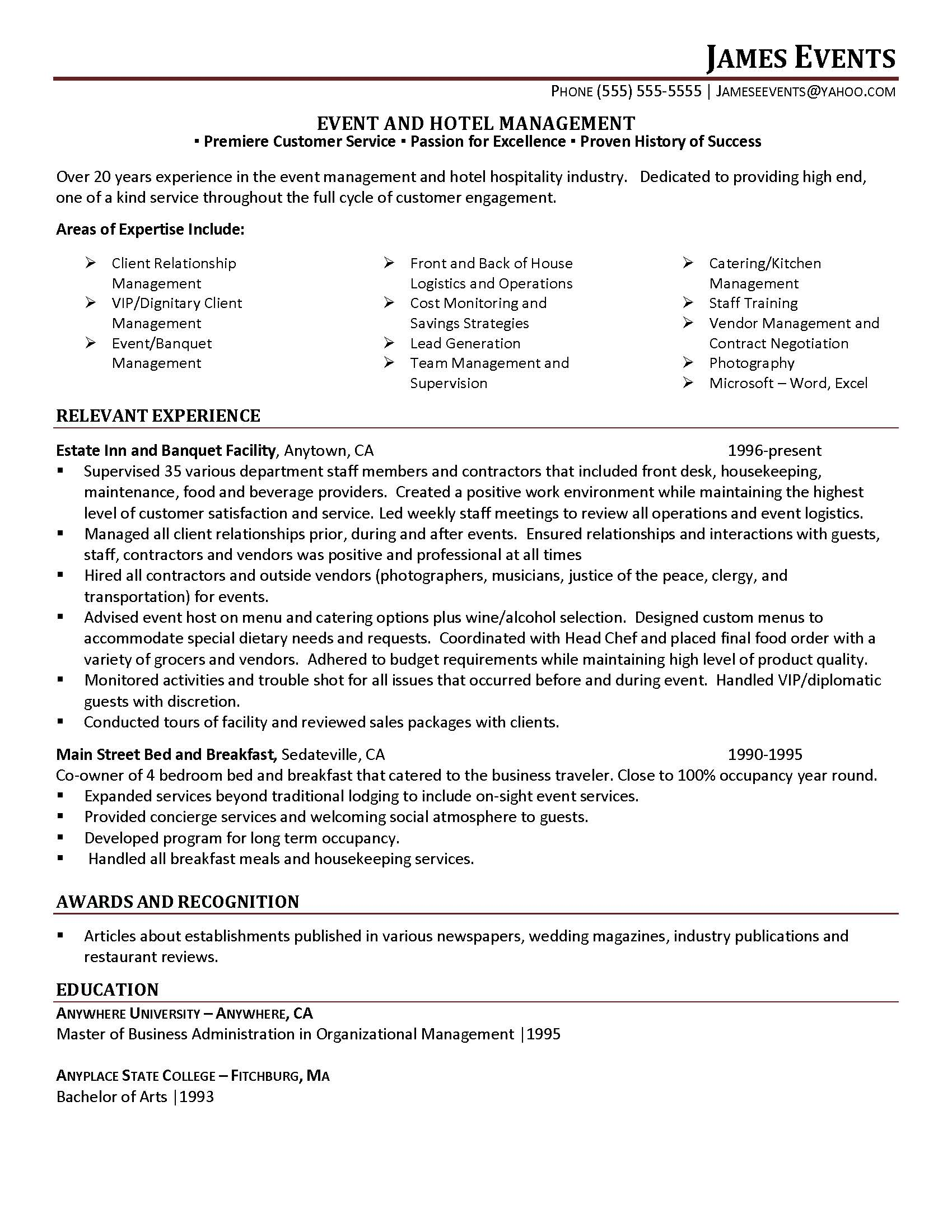 Events Coordinator Resume event coordinator resume sample resume – Events Coordinator Resume