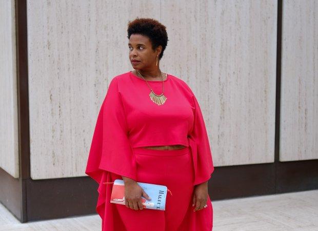 plus size blogger, cape pantsuit, sole society