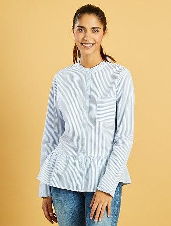 chemise-rayee-en-popeline-avec-col-fronce-raye-bleu
