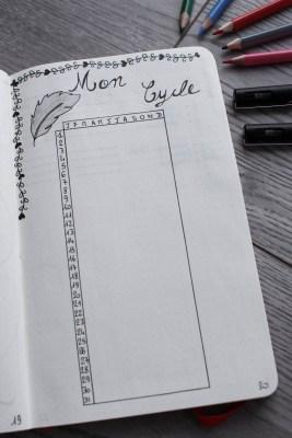 bullet journal bujo cycle menstruel mademoiselle e