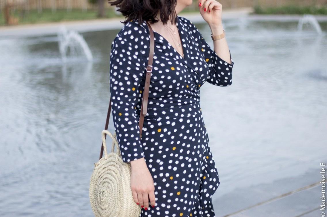 robe portefeuille pois volants Vila Clothes 25 mademoiselle-e look
