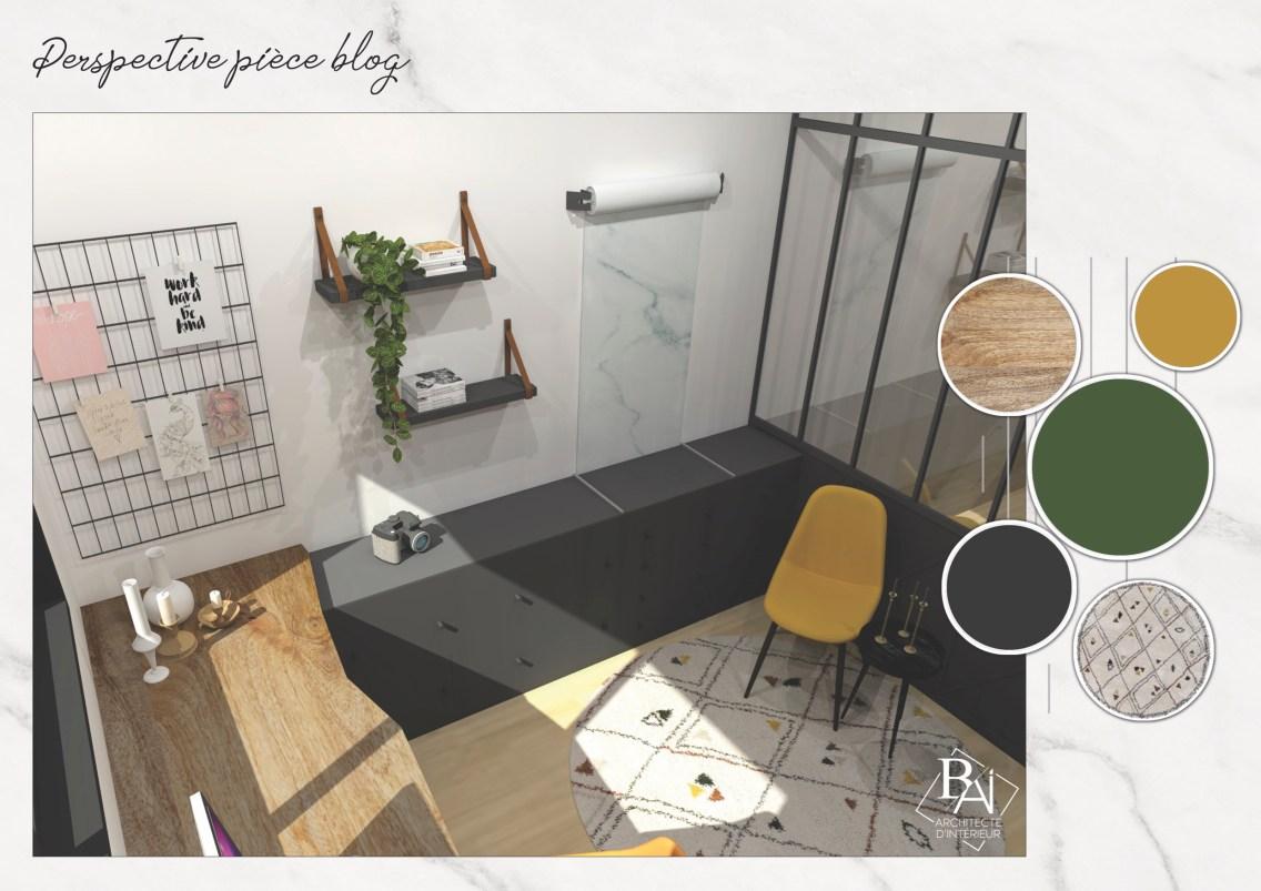 Idées aménagement bureau - Plan 3D 2 mademoiselle-e x bai_b_architecteinterieur
