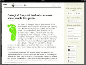 un article dans Zite pour iPad