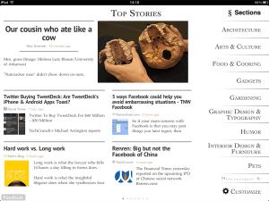 Vue d'une catégorie dans Zite pour iPad