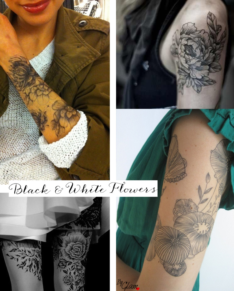 tattoo-idea-black-and-white-flowers-byglam