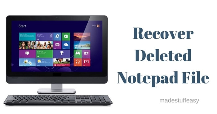 recover lost notepad file