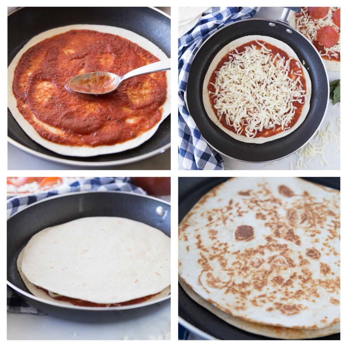 Pizza Quesadilla steps