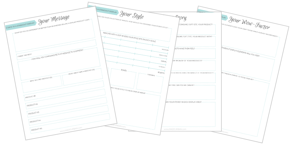 5 DAYS TO A STANDOUT DISPLAY WORKSHEETS