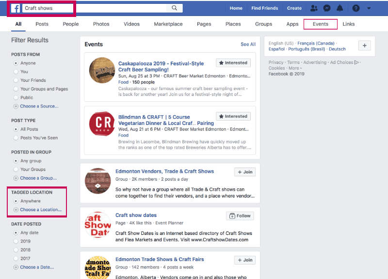 How to find local craft shows on Facebook