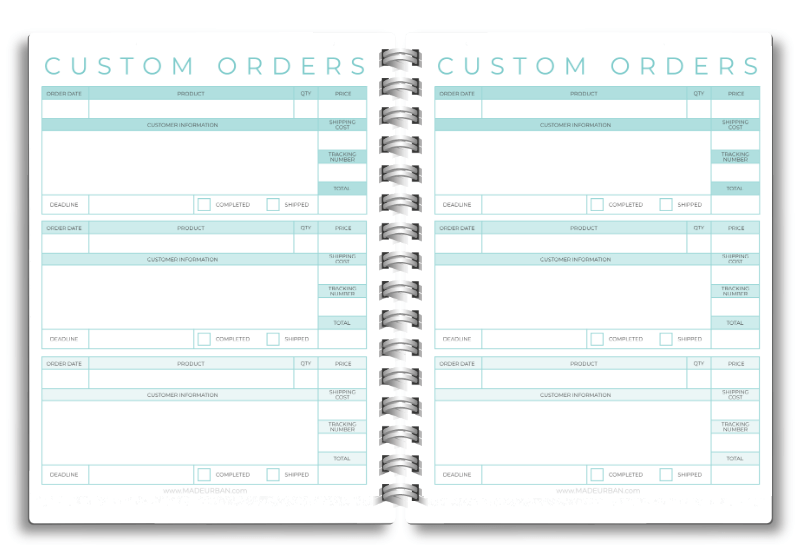 Custom Orders Worksheet