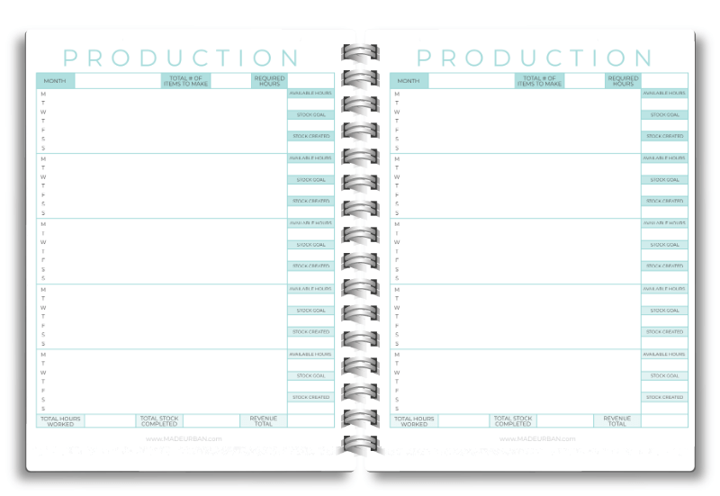 Production Schedule Worksheet