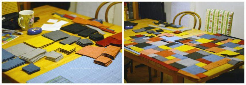 Die Rechtecke und Quadrate zugeschnitten und probehalber aufgelegt