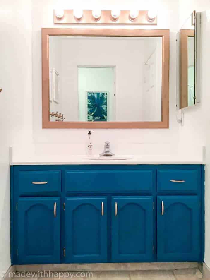 Bathroom Makeovers With White Cabinets fifty dollar bathroom makeover - made with happy