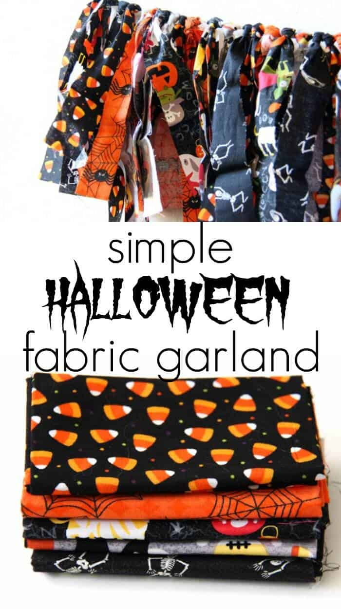 Simple Fabric Garland | Halloween Decoration Garland | Halloween Fabric | Cheap Halloween Decorations | www.madewithhappy.com