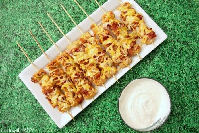 Easy Super Bowl Appetizers - Loaded Tater Tot Skewers with dip
