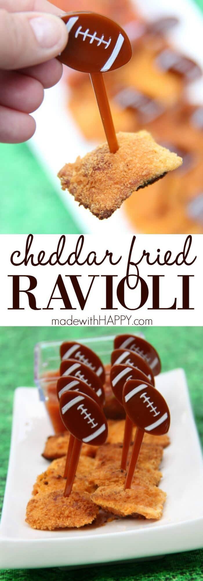 Cheddar Fried Ravioli   Game Day Appetizer   Kid friendly appetizers   www.madewithHAPPY.com