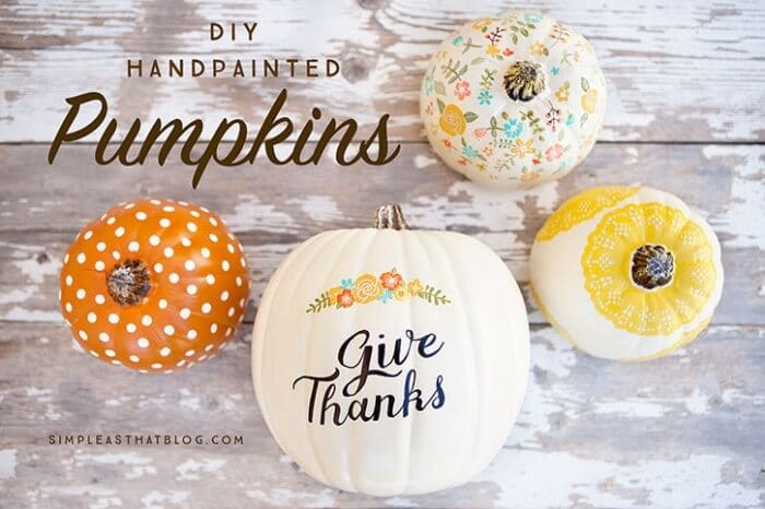 Painted Pumpkins - Simple As That Blog | 15 DIY Fall Crafts | www.madewithHAPPY.com