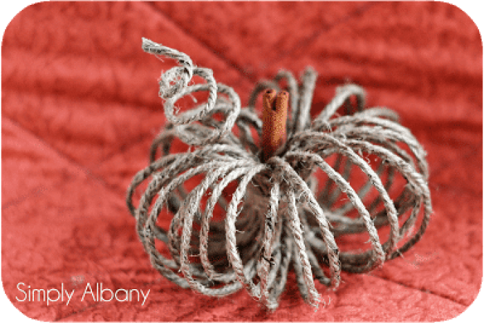 Twine Pumpkins - Simply Albany | 15 DIY Fall Crafts | www.madewithHAPPY.com