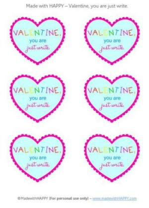 Valentine, You Are Just Write - Printable